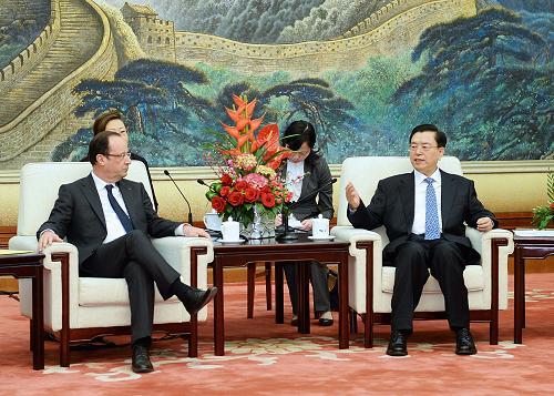 张德江会见法国总统奥朗德